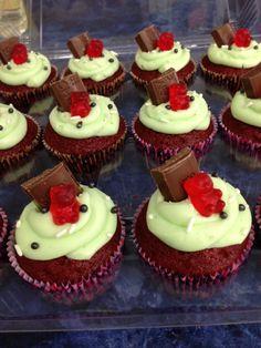 Red velvet gummy bears cupcakes