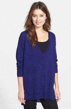 Eileen Fisher Fine Merino Deep V Neck Tunic Top Sweater ULTMA Purple XXS New #EileenFisher #VNeck