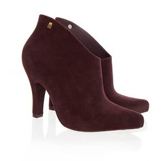 Melissa Purple Drama Flock Ankle Boots ($50) ❤ liked on Polyvore featuring shoes, boots, ankle booties, purple, patent boots, short high heel boots, patent leather bootie, purple boots and high heel ankle boots