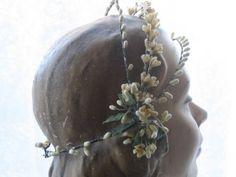 1930's wax orange blossom bridal headpiece