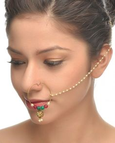 Golden Nath with Enameled Drop #Jewelry #Fashion #New #Stones #Studded #Ethnic #Indian #Traditional