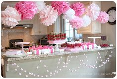 baby shower pins for girls | Pin Baby Shower Candy Buffet Decorations Dessert Bar Girl Party Pink ...