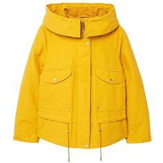 MANGO Pockets cotton parka ($120) ❤ liked on Polyvore featuring outerwear, coats, mustard, mustard coat, leather-sleeve coats, hooded parka coat, parka coats and cotton long coat