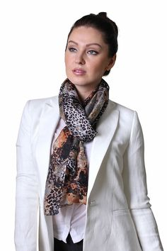 Women's Rachel Silver Grey Tan Black Animal Print Natural Silk Scarf: Amazon.co.uk: Clothing
