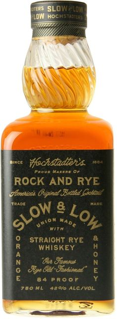 Hochstadter's Slow and Low Rock & Rye. Macerated in orange peel, honey and horehound, this straight rye was inspired by traditional Rock & Rye recipes. Whiskey Brands, Scotch Whiskey, Bourbon Whiskey, Whiskey Gifts, Wine And Liquor, Wine And Beer, Liquor Bottles, Gula, Root Beer