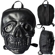 Kreepsville 666 presents The Skull Collection range of purse and bags, giant premium skull backpack in latex, with coffin shaped zipper pulls, padded back with adjustable padded straps for ultimate…