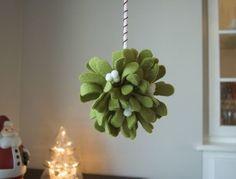 Felt mistletoe hanging ball