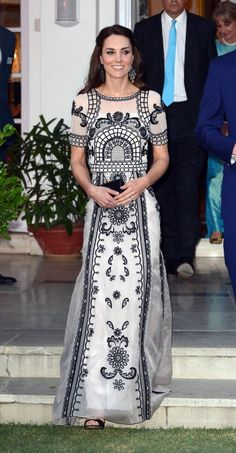 The Duke & Duchess Of Cambridge Visit India & Bhutan - apparently this is Temperley & it's two pieces (crop top & skirt)