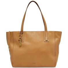 Fossil Emma Leather Tote (1,375 CNY) ❤ liked on Polyvore featuring bags, handbags, tote bags, tan, leather handbags, white leather purse, handbags totes, white leather tote and fossil tote