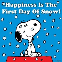 Happiness is the first day of snow. Not really, but Snoopy is enough to make me happy. Peanuts Christmas, Charlie Brown Christmas, Charlie Brown And Snoopy, Christmas Time, White Christmas, I Love Snow, I Love Winter, Winter Snow, Winter Time