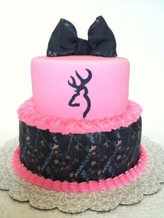 Pink and brown browning cake