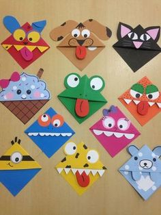 Corner bookmarks Corner bookmarks – Related posts: Ab in die Ecke – DIY woodland animals origami bookmarks {print + fold Kids Crafts, Valentine Crafts For Kids, Crafts For Kids To Make, Preschool Crafts, Art For Kids, Diy And Crafts, Arts And Crafts, Paper Crafts, Homemade Valentines