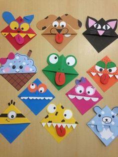 Corner bookmarks Corner bookmarks – Related posts: Ab in die Ecke – DIY woodland animals origami bookmarks {print + fold Valentine Crafts For Kids, Crafts For Kids To Make, Kids Crafts, Arts And Crafts, Paper Crafts, Homemade Valentines, Kids Diy, Homemade Christmas, Book Crafts