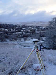 Surveying in Glanaman on a frosty day.   | Storm Geomatics Limited 01608 664910