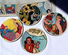 DIY #geek coasters.  i love these and my boyfriend would too! just need the old comics.