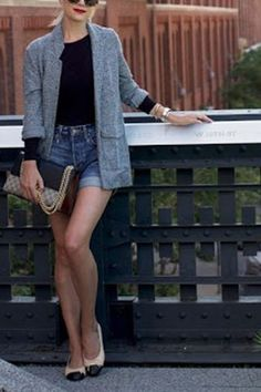 6 Ladylike Ways to Wear Denim Shorts (Yeah, We Said It) via @PureWow