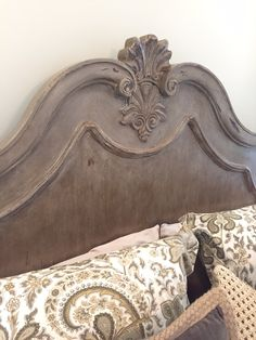 Poster king bed-frame redo! Painted with Coco Chalk Paint® by Annie Sloan, then Dark Soft Wax. Distressed and sanded. Then applied a white wash with Old White Chalk Paint® and waxed with Clear Soft Wax and Dark Soft Wax again. Beautiful project by Emily McGraw!