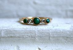 Vintage 9K Yellow Gold Diamond and Turquoise Ring by GoldAdore, $265.00