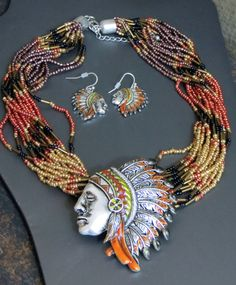 last one! Cowgirl Bling INDIAN CHIEF Warrior Silver Headdress Native necklace set Gypsy #icon