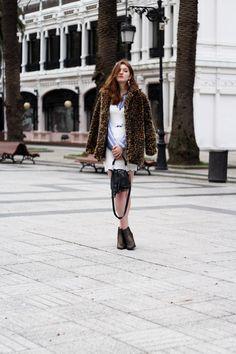 Layering: leopard coat, white mini dress and blue shirt - Martina Lubian