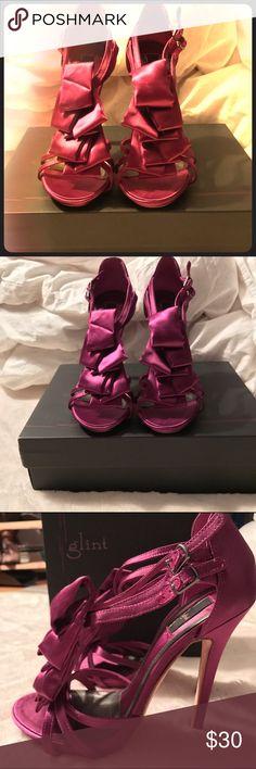Unique glam ruffle stilettos Unique glam ruffle stilettos, worn 2x. Still have box. Purchased from Nordstroms. glint Shoes Heels