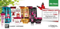 """Get half price off a treatment when you buy any two Elvive shampoos or conditioners. Beauty Fair, Half Price, Shampoos, Pharmacy, Loreal, Fragrance, Skin Care, Cosmetics"