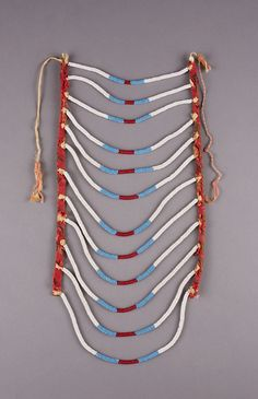 Lakota artist, Breastplate, ca. glass beads and silk on rawhide Native American Art, American Indians, Beadwork, Beading, Chocker, Otter, Diy Necklace, Crow, Quilling