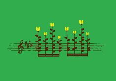 Poster   MUSIC NOTES GARDEN von Budi Kwan   more posters at http://moreposter.de