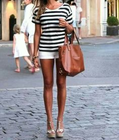 Perfect Summer outfit. Classy stripe tee with white shorts, wedges, tan purse and that summer tan!