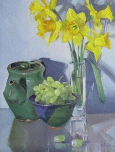 """""""Daffodils and Green Grapes floral art flower painting still life fruit original oil on canvas"""" - Original Fine Art for Sale - © Sarah Sedwick"""