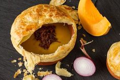 Aki's pumpkin soup recipe with a puff pastry crust. Aromatic and hearty, full of red lentils, caramelized onions, ginger and garlic! Enjoy!