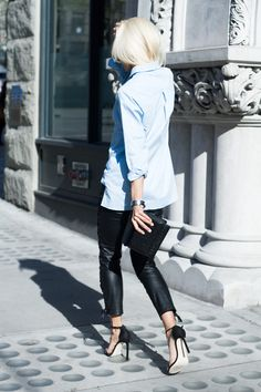 boyfriend shirt + skinny leather pants