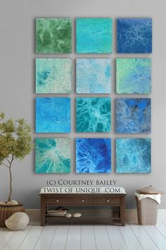 BOLD CUSTOM abstract Painting, 12 square Modern Abstract Wall Art, Large Abstract artwork,, Green, blue,: