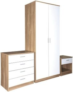 Ottawa White high gloss and oak bedroom set - bedroom furniture sets White Gloss Bedroom Furniture, Wood Bedroom, Bedroom Furniture Sets, Furniture Sale, Bedroom Sets, Furniture Ideas, Furniture Design, Bedrooms, Ikea Bedroom Wardrobes