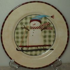 Zak Designs Debbie Mumm North Country Snowmen Snowman Sled Plaid Salad Plate  ~ This Item is for sale at LB General Store http://stores.ebay.com/LB-General-Store ~Free Domestic Shipping ~