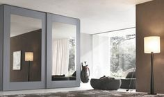 Mirror sliding wardrobe of Player collection with white glossy lacquered glass door panel and white open pore lacquered oak door frame and external sides Sliding Glass Closet Doors, Mirror Closet Doors, Sliding Wardrobe Doors, Mirror Door, Bedroom Closet Doors, Bedroom Cupboards, Bedroom Wardrobe, Closet Designs, Cupboard Design