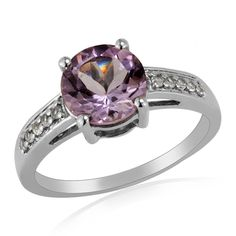3.00ct Pink Amethyst White Topaz 925 Sterling Silver Engagement Ring Jewelry #Unbranded #SolitairewithAccents #ValentinesDay