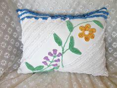 Chenille Pillow, Vintage Chenille, Accent Pillow, Cotton Pillow, Nursery Pillow, Throw Pillow,  Decorative Pillow, Chic Pillow, Pillow #A3 by KMelvilleDesigns on Etsy