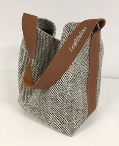 Bucket bag in mottled canvas and fawn leather / Fabric shopper bag