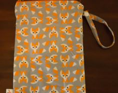 Wet Bag - Diaper Bag - MEDIUM Fox print