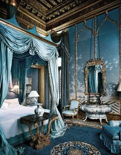 Blue Bedroom (Palazzo Brandolini) (via la Rocaille - A blog about Decadence, Kitsch and Godliness.)