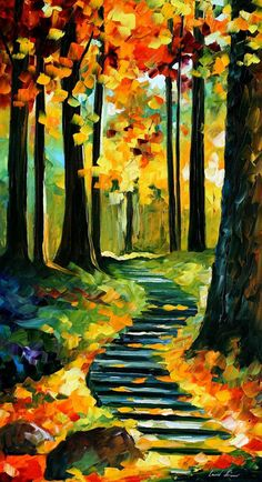 Wall Art Varnished Oil Painting On Canvas By Afremov. Stairway In The Old Park. Size: X Textured Wall Art Varnished Oil Painting On Canvas By Afremov.Textured Wall Art Varnished Oil Painting On Canvas By Afremov. Simple Oil Painting, Oil Painting On Canvas, Painting Art, Knife Painting, Textured Painting, Painting Clouds, Painting Frames, Painting Classes, Autumn Painting