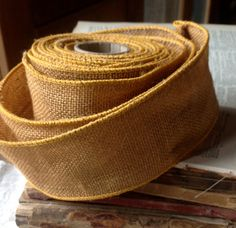 harvest gold burlap wired ribbon rustic primitive by ShyMyrtle, $2.00