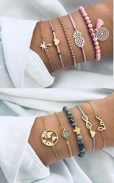 Lot de 5 bracelets trop mignon #bracelets #bracelet #braceletstack