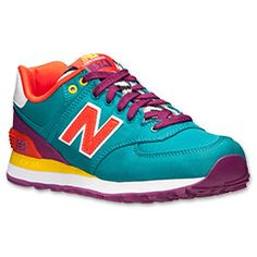 Women's New Balance 574 Casual Shoes | Finish Line | Teal/Red/Yellow/Zebra
