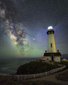 """presents the  N I G H T S C A P E R Photo Award to ... .  @bryanmrossi .  Pigeon Point Lighthouse, California. Congratulations to Bryan Rossi. """"Finally had a chance to shoot the Milky Way a few weeks back out at the iconic Pigeon Point light house. Spent close to 5 hrs out there getting a ton of different shots but this one was definitely my favorite,"""" says Brian! 