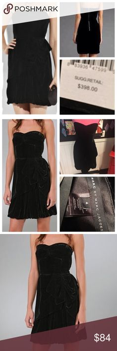 """Nwts ❤Marc jacobs sz4 velvet silk cocktail DRESS So hard to show up in pics.   Truly beautiful new with tags Marc jacobs velvet silk Black rouge strapless dress.  Size 4 chest is 30"""" with corset inside waist is 26"""".   Beautiful most have piece for your wardrobe. Marc Jacobs Dresses"""
