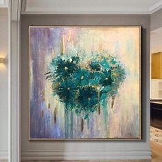 Abstract Heart Flower Painting Romantic Artwork Large Abstract Painting Colorful Painting Abstract Original Painting On Canvas | EMERALD HEART Colorful Artwork, Colorful Paintings, Nature Paintings, Romantic Artwork, Romantic Paintings, Feuille D'or, Yellow Painting, Painting Abstract, Hand Painted Rocks