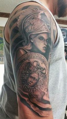 Greek mythology tattoo. Athena tattoo. Medusa shield.