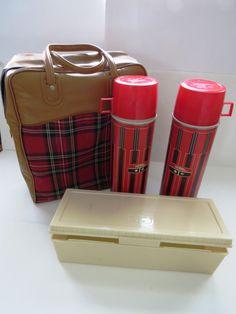 Tartan Plaid Thermos Outing Kit - 1960s Retro Insulated Thermos Sandwich Snack Box Zippered Tote Set - Fall Picnics Football Tail Gate by shabbyshopgirls on Etsy